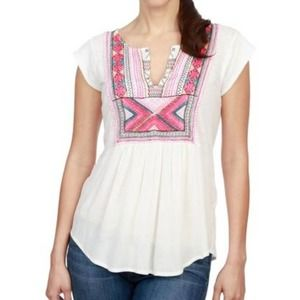 NWT Lucky Brand Embroidered Bib Knit Top Large